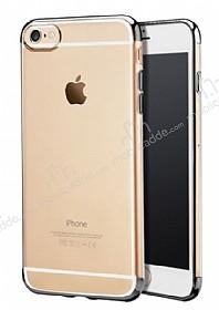 iPhone 6 Plus / 6S Plus Dark Silver Çerçeveli Şeffaf Silikon Kılıf
