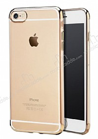 iPhone 6 Plus / 6S Plus Gold Çerçeveli Şeffaf Silikon Kılıf