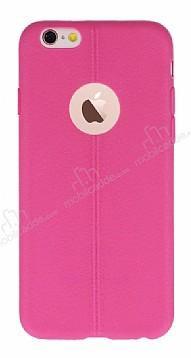iPhone 6 Plus / 6S Plus Deri Desenli Ultra İnce Pembe Silikon Kılıf