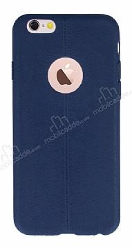 iPhone 6 Plus / 6S Plus Deri Desenli Ultra İnce Lacivert Silikon Kılıf