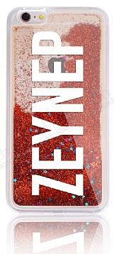 iPhone 6 Plus / 6S Plus Kişiye Özel Simli Sulu Kırmızı Rubber Kılıf