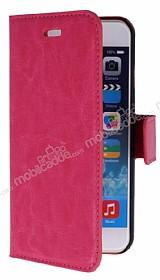 iPhone 6 / 6S Standlı Cüzdanlı Pembe Deri Kılıf