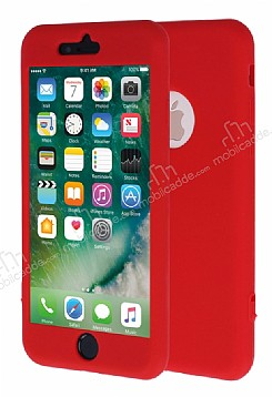 iPhone 7 360 Derece Koruma Likit Kırmızı Silikon Kılıf