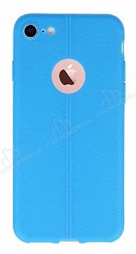 iPhone 7 Deri Desenli Ultra İnce Mavi Silikon Kılıf