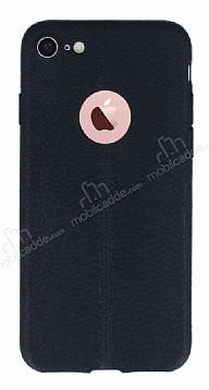 iPhone 7 /Deri Desenli Ultra İnce Siyah Silikon Kılıf