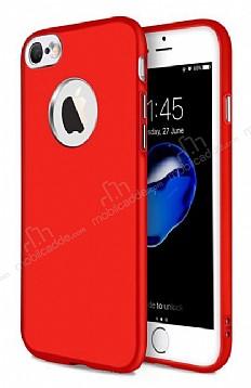 iPhone 7 Metal Kamera Korumalı Kırmızı Silikon Kılıf