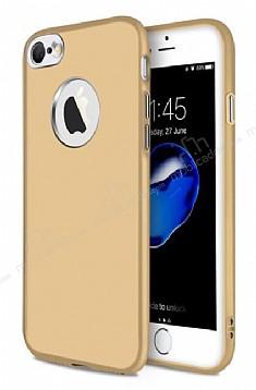 iPhone 7 Metal Kamera Korumalı Gold Silikon Kılıf