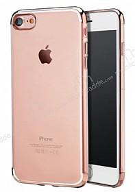 iPhone 7 Rose Gold Çerçeveli Şeffaf Silikon Kılıf