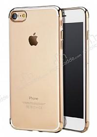 iPhone 7 / 8 Gold Çerçeveli Şeffaf Silikon Kılıf