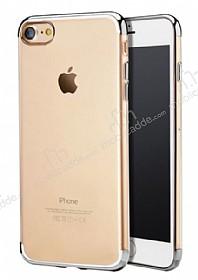 iPhone 7 Silver Çerçeveli Şeffaf Silikon Kılıf