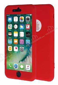 iPhone 7 Plus 360 Derece Koruma Likit Kırmızı Silikon Kılıf
