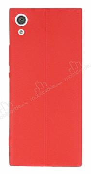 Sony Xperia XA1 Deri Desenli Ultra İnce Kırmızı Silikon Kılıf