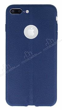 iPhone 7 Plus Deri Desenli Ultra İnce Lacivert Silikon Kılıf