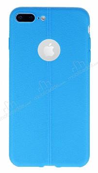 iPhone 7 Plus Deri Desenli Ultra İnce Mavi Silikon Kılıf