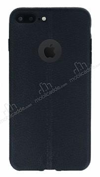 iPhone 7 Plus Deri Desenli Ultra İnce Siyah Silikon Kılıf