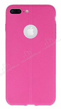 iPhone 7 Plus Deri Desenli Ultra İnce Pembe Silikon Kılıf