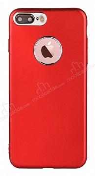 iPhone 7 Plus Kamera Korumalı Kırmızı Silikon Kılıf