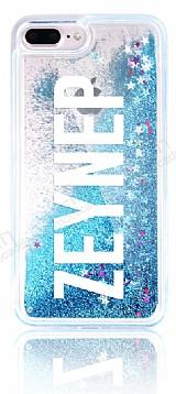 iPhone 7 Plus / 8 Plus Kişiye Özel Simli Sulu Mavi Kılıf