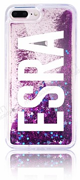 iPhone 7 Plus / 8 Plus Kişiye Özel Simli Sulu Mor Kılıf