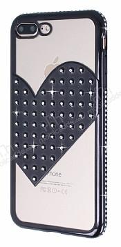 iPhone 7 Plus / 8 Plus Taşlı Kalpli Siyah Silikon Kılıf
