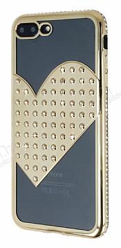 iPhone 7 Plus / 8 Plus Taşlı Kalpli Gold Silikon Kılıf