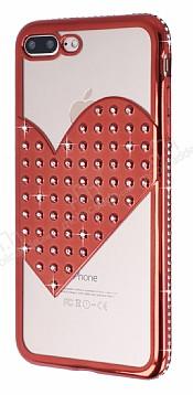 iPhone 7 Plus / 8 Plus Taşlı Kalpli Kırmızı Silikon Kılıf