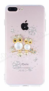 iPhone 7 Plus / 8 Plus Baykuş Taşlı Şeffaf Silikon Kılıf