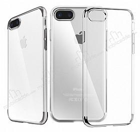 iPhone 7 Plus Silver Çerçeveli Şeffaf Silikon Kılıf