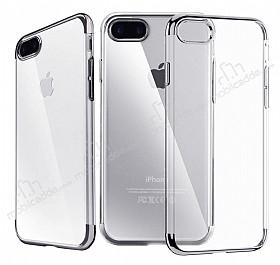 iPhone 7 Plus / 8 Plus Dark Silver Çerçeveli Şeffaf Silikon Kılıf