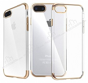 iPhone 7 Plus / 8 Plus Gold Çerçeveli Şeffaf Silikon Kılıf