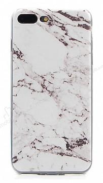 iPhone 7 Plus Granit Görünümlü Beyaz Silikon Kılıf