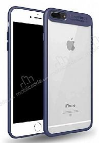 Eiroo iPhone 7 Plus /8 Plus Kamera Korumalı Lacivert Kenarlı Rubber Kılıf