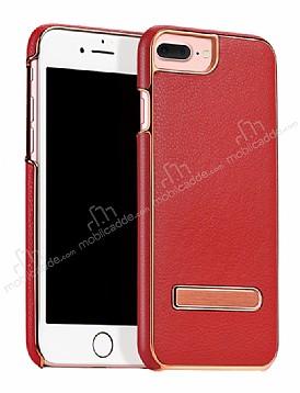 Hoco iPhone 7 Plus / 8 Plus Standlı Deri Kırmızı Rubber Kılıf