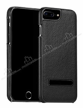 Hoco iPhone 7 Plus / 8 Plus Standlı Deri Siyah Rubber Kılıf
