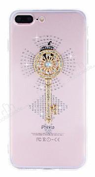 iPhone 7 Plus / 8 Plus Taşlı Anahtar Şeffaf Silikon Kılıf