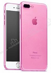 iPhone 7 Plus / 8 Plus Ultra İnce Şeffaf Pembe Silikon Kılıf