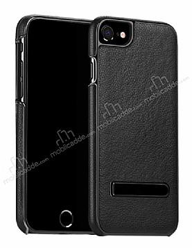Hoco iPhone 7 Standlı Deri Siyah Rubber Kılıf