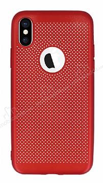 iPhone X Delikli Mat Kırmızı Silikon Kılıf