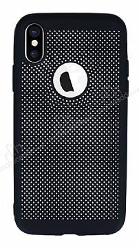 iPhone X Delikli Mat Siyah Silikon Kılıf