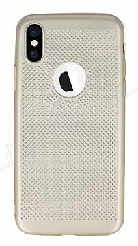 iPhone X Delikli Mat Gold Silikon Kılıf