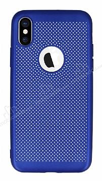 iPhone X Delikli Mat Lacivert Silikon Kılıf