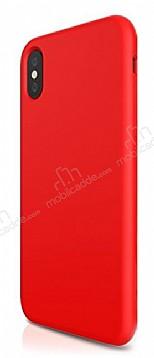 iPhone X Kadife Dokulu Kırmızı Silikon Kılıf