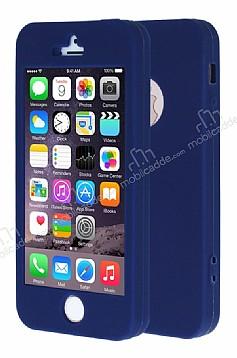 iPhone SE / 5 / 5S 360 Derece Koruma Likit Lacivert Silikon Kılıf
