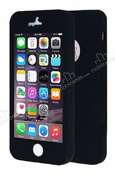 iPhone SE / 5 / 5S 360 Derece Koruma Likit Siyah Silikon Kılıf