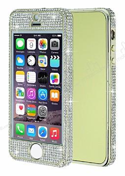 iPhone SE / 5 / 5S 360 Derece Koruma Taşlı Gold Rubber Kılıf