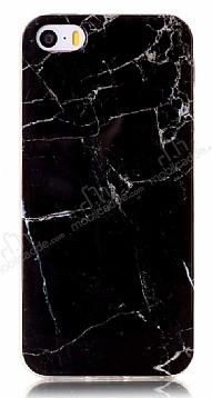 iPhone SE / 5 / 5S Granit Görünümlü Siyah Silikon Kılıf