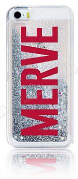 iPhone SE / 5 / 5S Kişiye Özel Simli Sulu Silver Rubber Kılıf