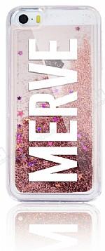 iPhone SE / 5 / 5S Kişiye Özel Simli Sulu Rose Gold Rubber Kılıf