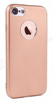 iPhone SE / 5 / 5S Metal Kamera Korumalı Rose Gold Silikon Kılıf