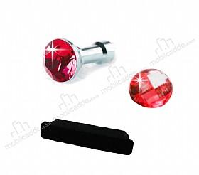 iPhone ve iPad Home Butonu + Şarj ve Kulaklık Kırmızı Toz Önleyici Set